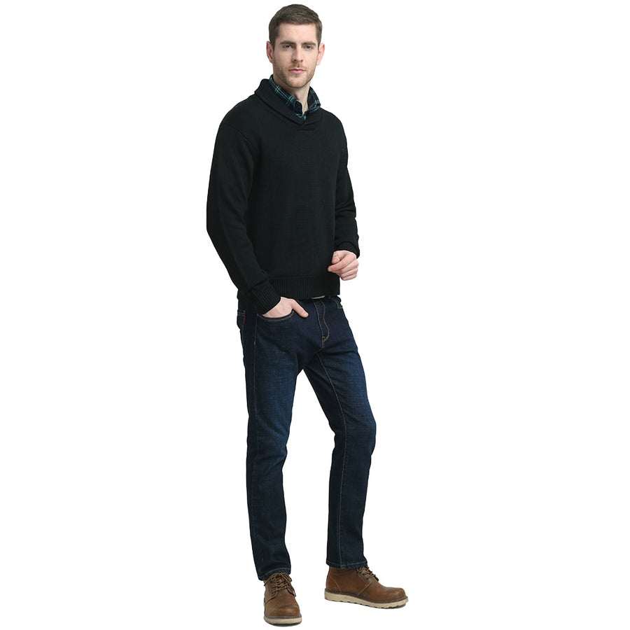 Kallspin Shawl Collar Sweater Pullover Black On A Model