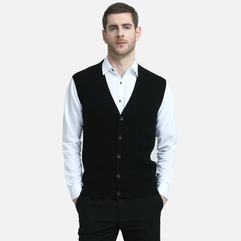 Cashmere Cable-Knit Cardigan Vest