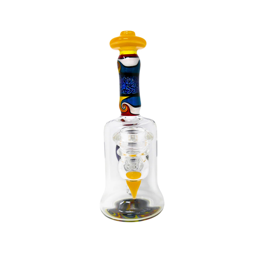 Chuck B Glass Worked Encalmo Rig 14mm Female - Transparent Yellow - Mary Jane Glass Gallery