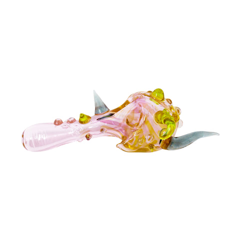 Glass Charlie Spoon Pipe - Amaranth & Decal - Mary Jane Glass Gallery