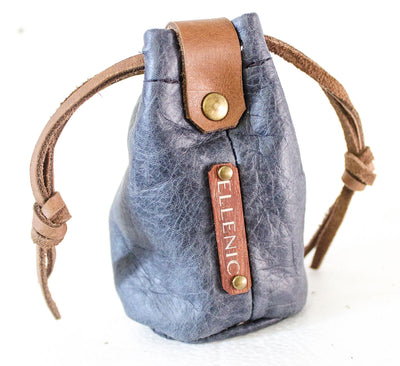 blue leather coin pouch