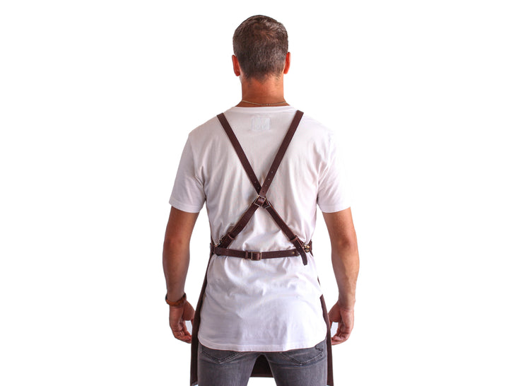 brown leather apron back straps Ellenic Australia