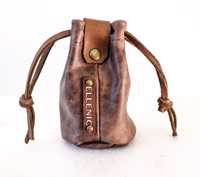 brown leather coin pouch