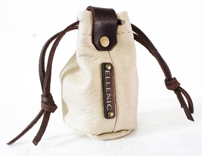 cream leather coin pouch
