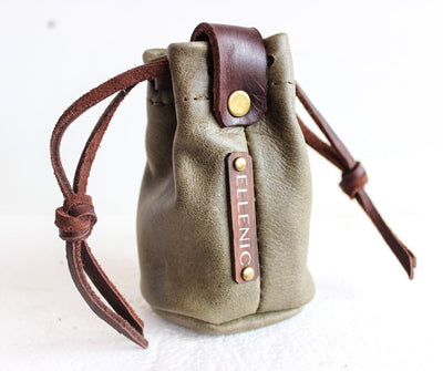 olive leather coin pouch