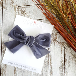 VELVET - Smoke Hand Tied Bow