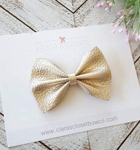 FAUX LEATHER - Pale Gold Textured Metallic Bow