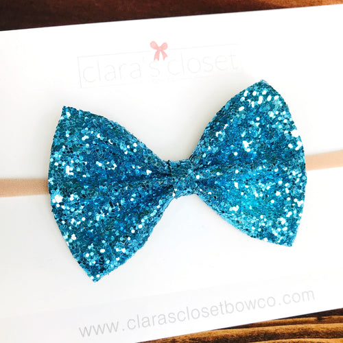 GLITTER -  Teal Bow