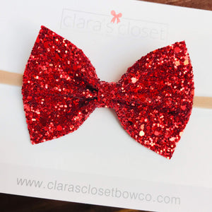 GLITTER -  Ruby Red Bow