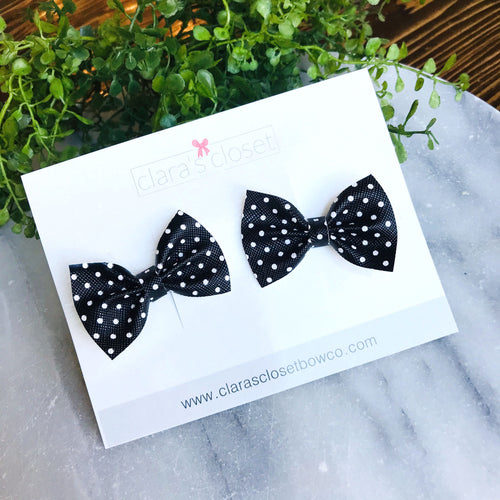 PIGGIES - Black & White Polka Dot Pigtail Bows