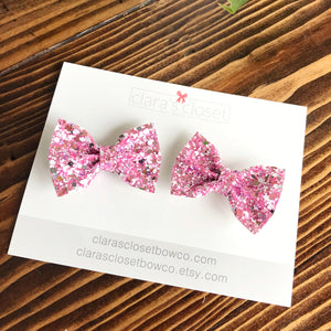 PIGGIES -  Icy Pink Pigtail Bows
