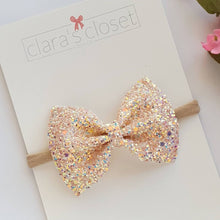 peach pink glitter bow on nylon headband or hair clip