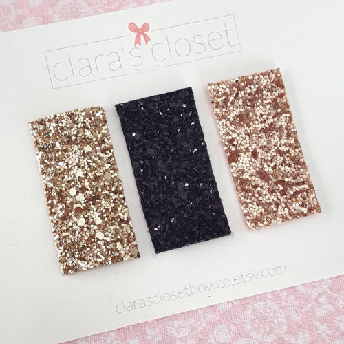 gold black and rose gold glitter snap clips