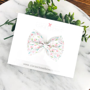 FAUX LEATHER - Rosebud Floral Ava Bow