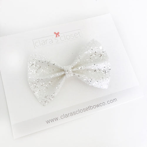 GLITTER - Pure White Bow