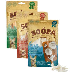Bags of each variety of Soopa fruit chews fo dogs