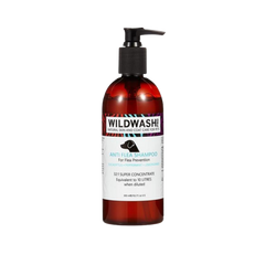 Bottle of Wildwash shampoo for dogs