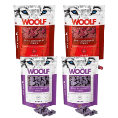 Woolf Fruity Soft Strips Bundle cranberry and blueberry packs