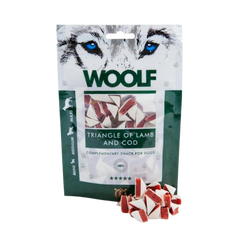 Packet of Woolf lamb and cod dog treats