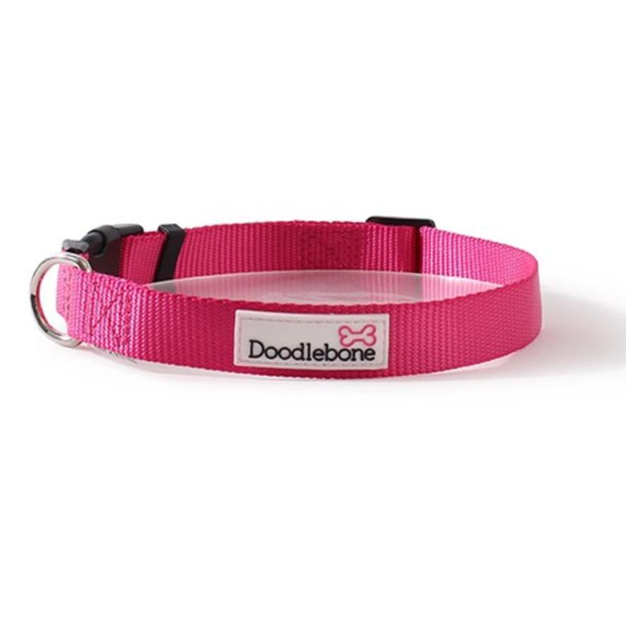 Doodlebone Bold Nylon Collar Pink Dog Collars and Leads Doodlebone