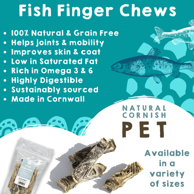 Fish Finger Chews 75g Dog Treats Natural Cornish Pet