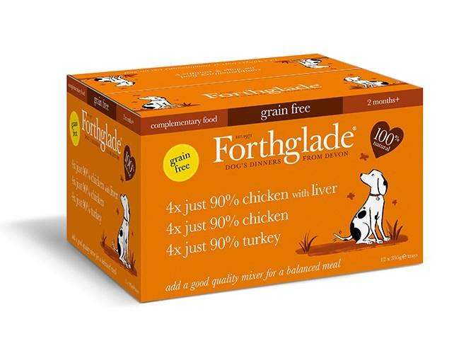 Forthglade Just 90% Chicken, Liver & Turkey Grain Free Variety Pack Dog Food - Wet Forthglade