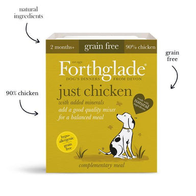 Forthglade Just 90% Chicken, Liver & Turkey Grain Free Variety Pack x12 Dog Food - Wet Forthglade