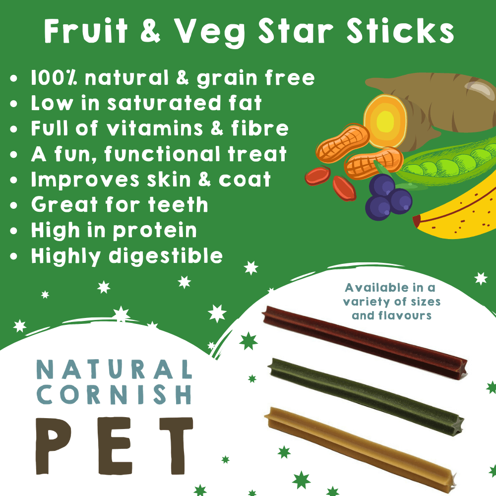 Fruit & Vegetable Star Sticks Large - Bundle of 10 Dog Treats Natural Cornish Pet