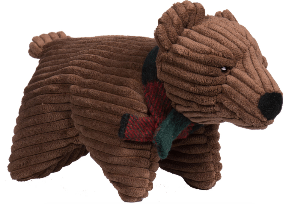 HuggleHounds Holiday Squooshie Brown Bear - Large Dog Toys HuggleHounds