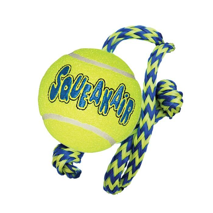 KONG Air Squeaker Tennis Ball With Rope Dog Toys KONG