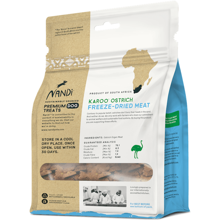 Nandi Freeze Dried Karoo Ostrich Dog Treats Nandi