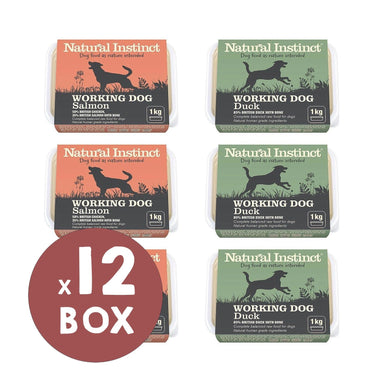Natural Instinct Working Dog Duck and Chicken & Salmon Bundle Dog Food - Frozen Natural Instinct