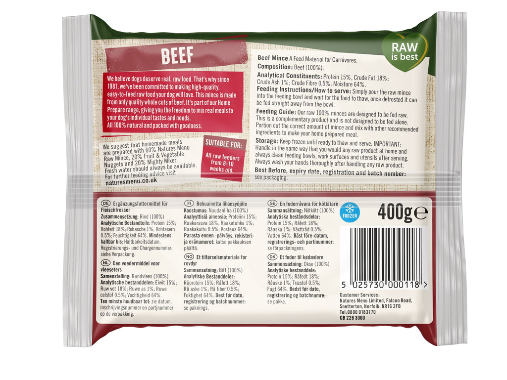 Natures Menu All Beef Mince Portions Dog Food - Frozen Natures Menu