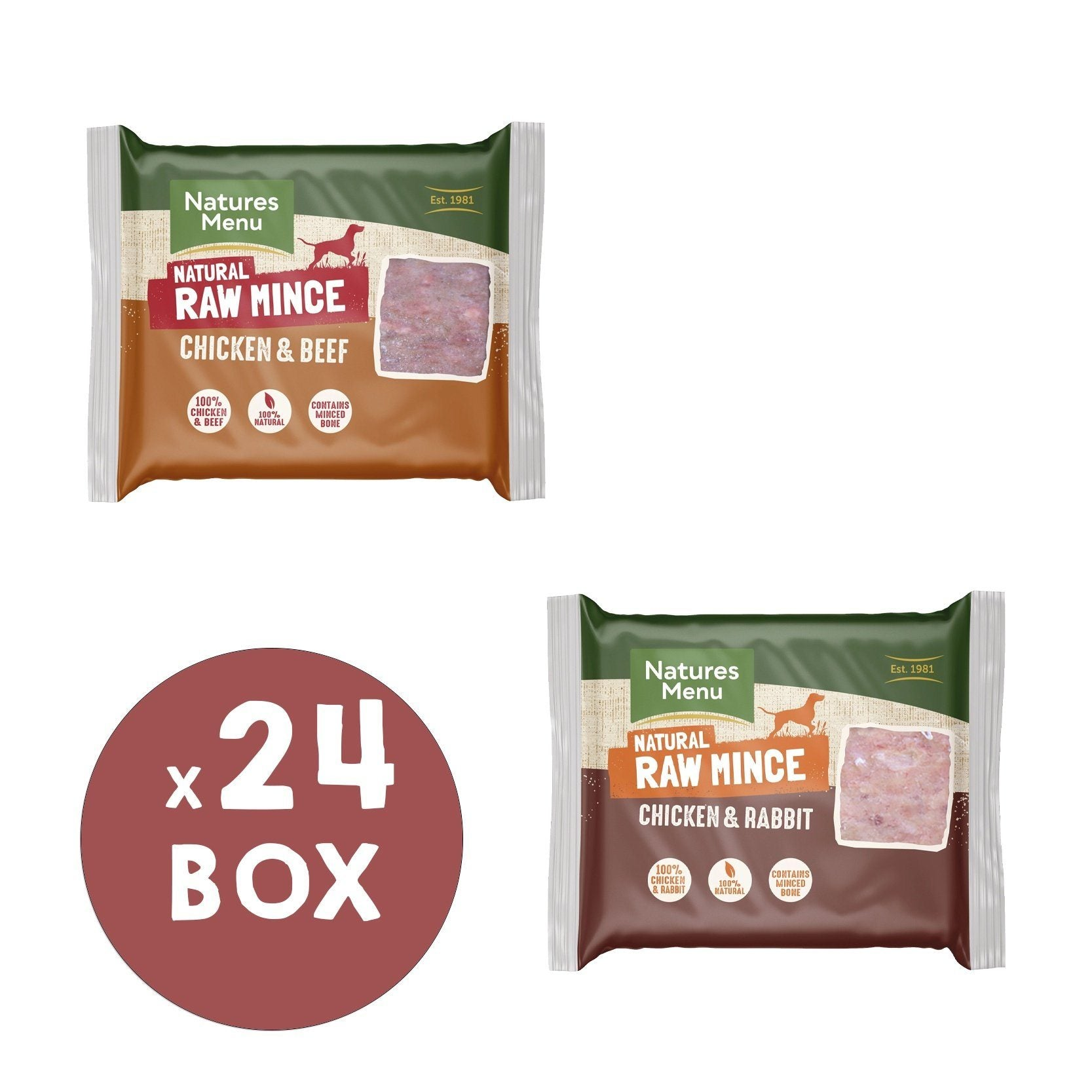 Natures Menu Chicken & Beef and Chicken & Rabbit Mince Portions Bundle Dog Food - Frozen Natures Menu
