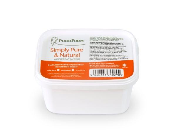 Purrform Quail & Farmed Rabbit and Ground Bone with Liver & Kidney Cat Food - Frozen PurrForm