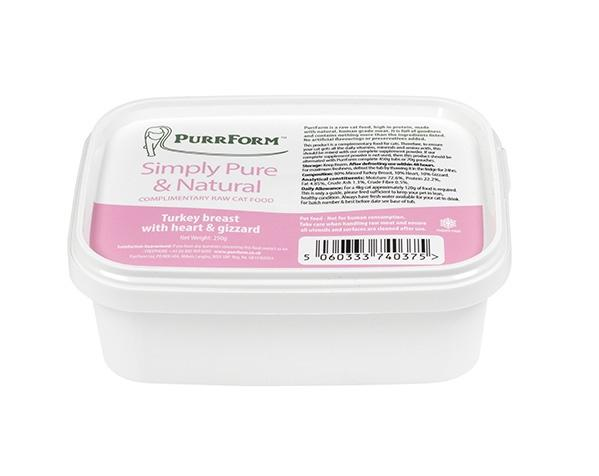 PurrForm Turkey Breast with Heart and Gizzard Cat Food - Frozen PurrForm