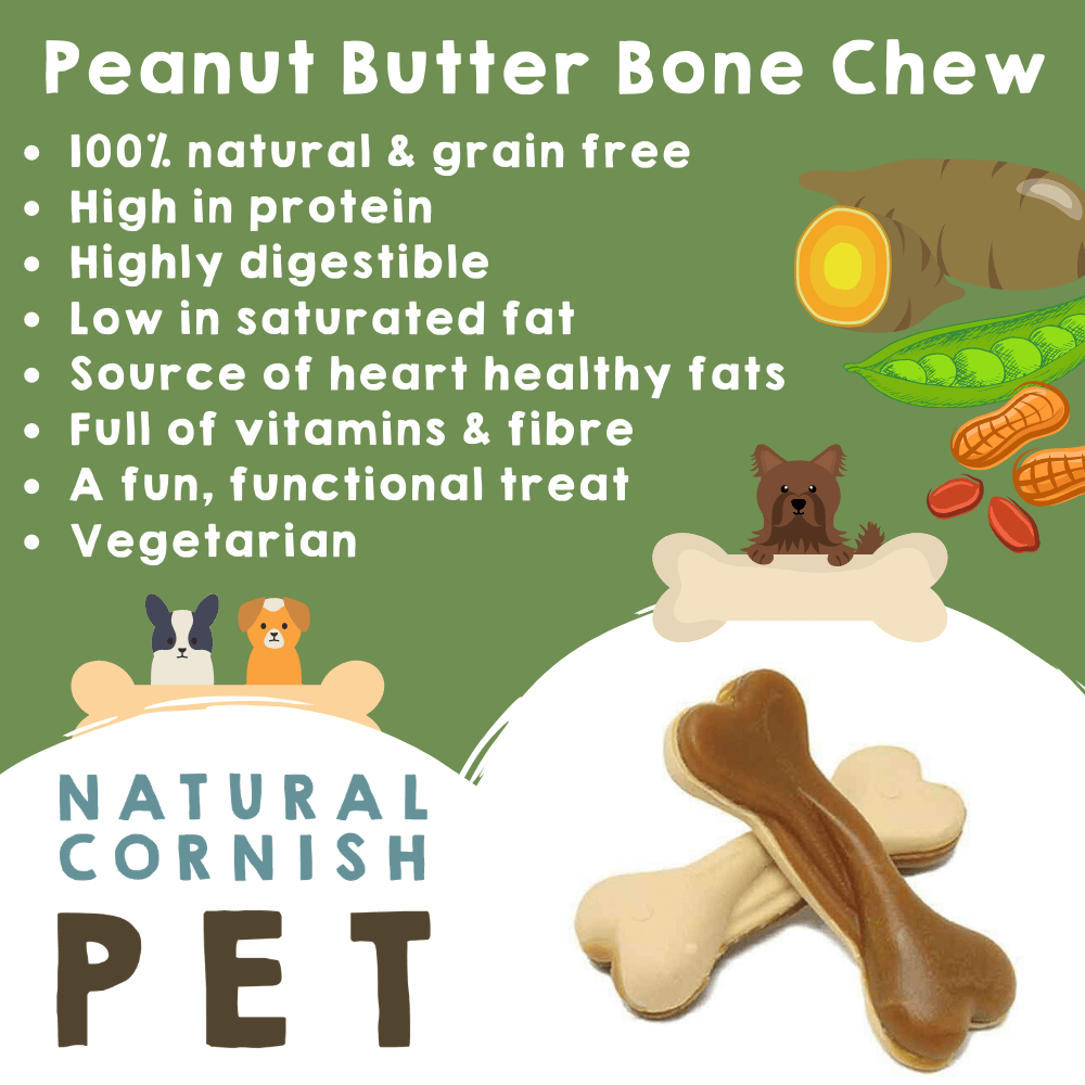Vegetable Peanut Butter Bone Singles Dog Treats Natural Cornish Pet