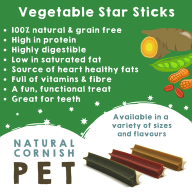 Vegetable Star Stick Singles Dog Treats Natural Cornish Pet