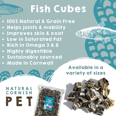 White Fish Cubes 75g Dog Treats Natural Cornish Pet