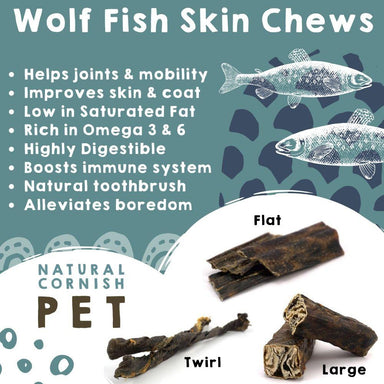 Wolf Fish Flat Chew Dog Treats Natural Cornish Pet