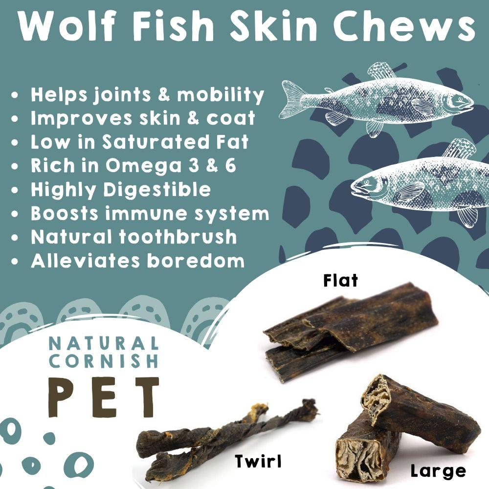 Wolf Fish Twirl Chew Dog Treats Natural Cornish Pet