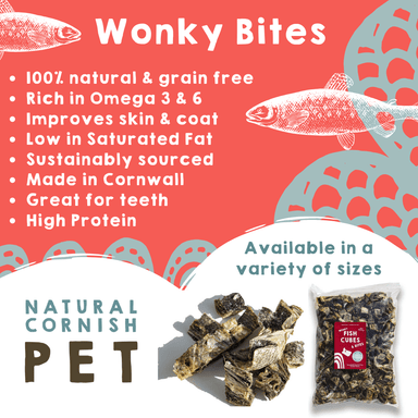 Wonky Bites Fish Cubes & Fingers 75g Dog Treats Natural Cornish Pet