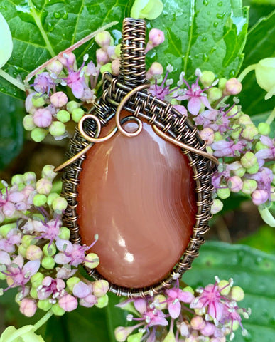 Sunset Salmon Agate in Copper