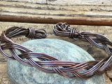 Rugged Solid Copper Braided Bracelet - adjustable 9""