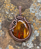 Petrified Wood and Copper Pendant