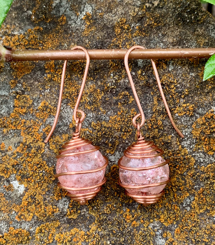 Pink Crackled Glass and Copper Earrings