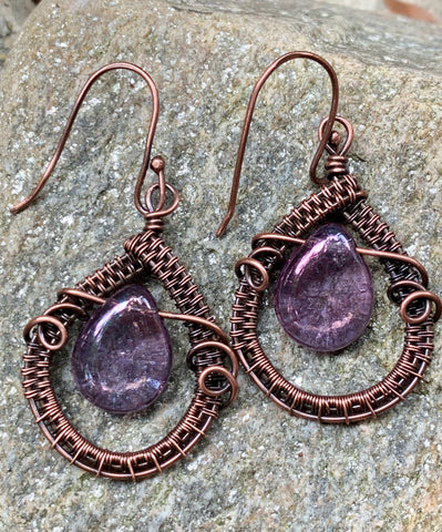 Woven Copper and Purple Czech Glass Teardrop Earrings