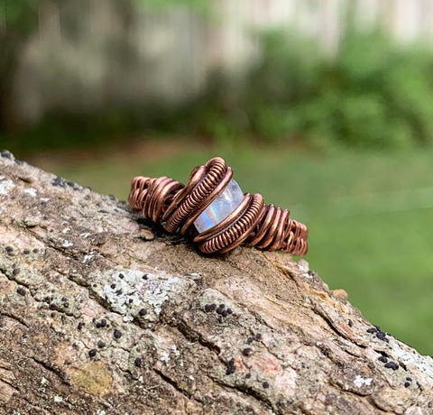 Rainbow Moonstone and Copper Ring - size 6 1/2
