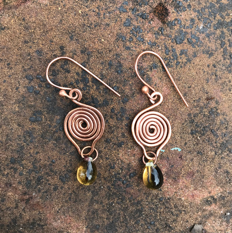 Coiled Copper and Glass Bead Drop Earrings