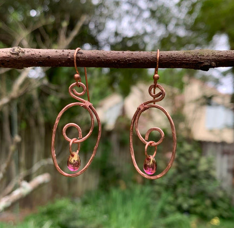 Hammered Copper Pink Drop Earrings